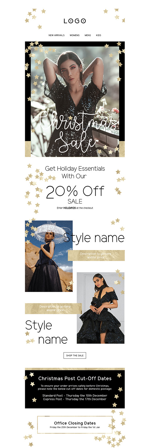 Black and Gold Christmas Email Design Style